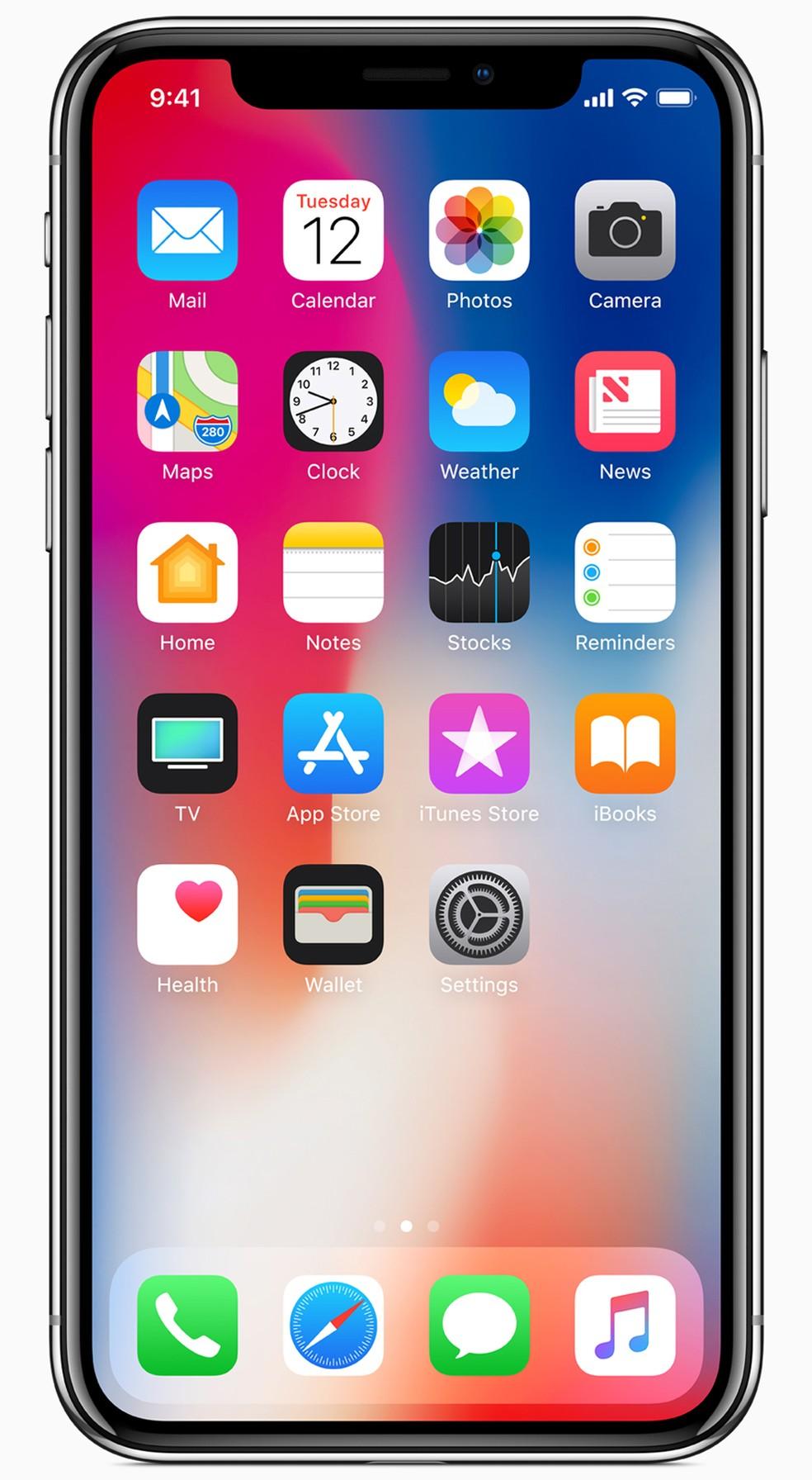 Display do iPhone X não tem bordas e ocupa toda a tela, eliminando o botão 'home' (Foto: Divulgação)