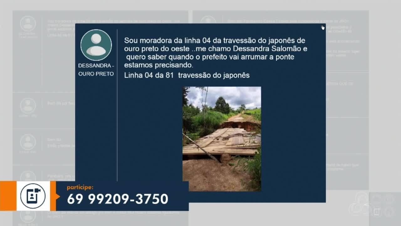 Moradora da Zona Rural de Ouro Preto do Oeste reclama de ponte danificada pela chuva