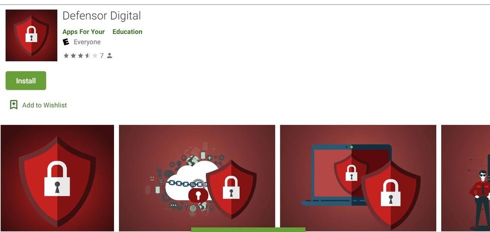 Defensor Digital, um dos dois aplicativos suspeitos que chegaram à Play Store.  — Foto: Reprodução