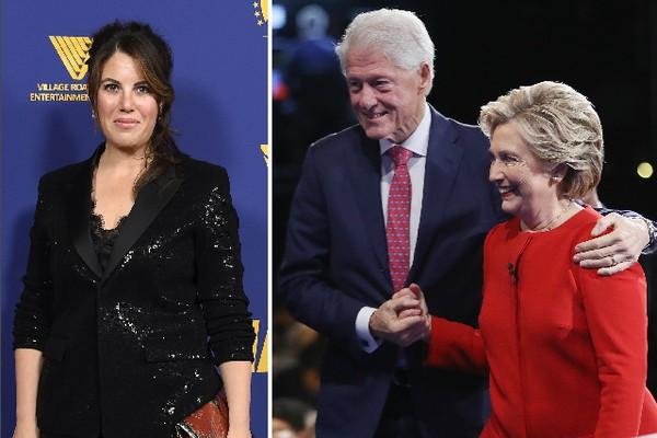 A ativista Monica Lewinsky e o casal Bill Clinton e Hillary Clinton (Foto: Getty Images)
