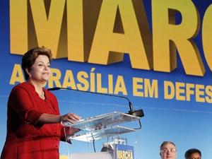 Presidente Dilma Rousseff durante 15ª Marcha dos Prefeitos em Brasília nesta terça-feira (15) (Foto: Roberto Stuckert Filho/ Presidência)