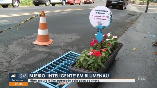 Empresário de Blumenau cria 'bueiro inteligente' para que lixo não caia em rede de esgoto