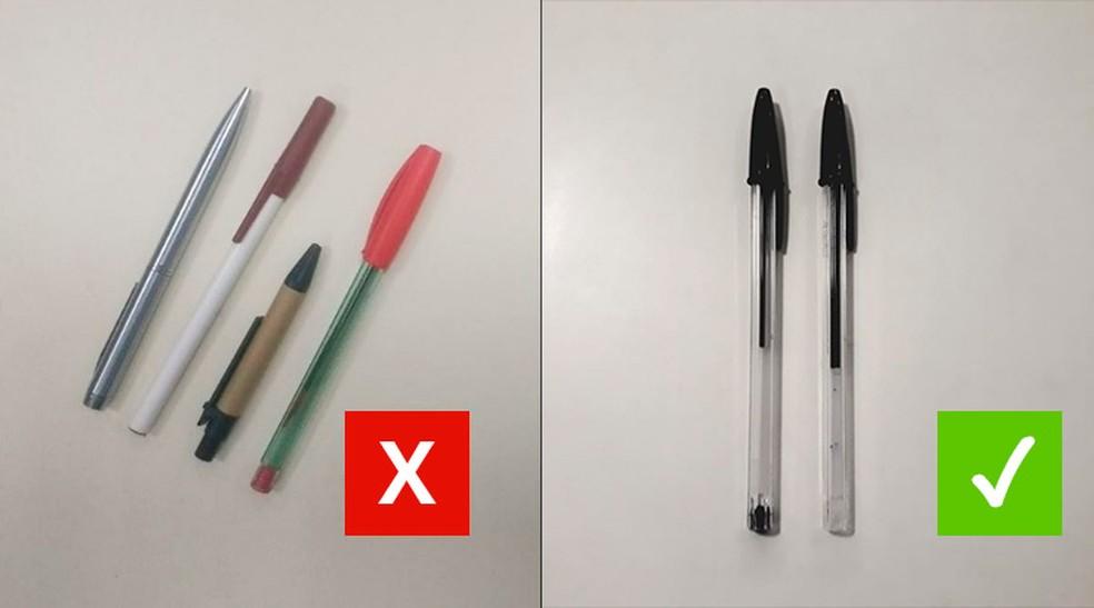 O cartão de resposta do Enem só pode ser preenchido com caneta preta, esferográfica e de tubo transparente — Foto: Juliane Souza/G1