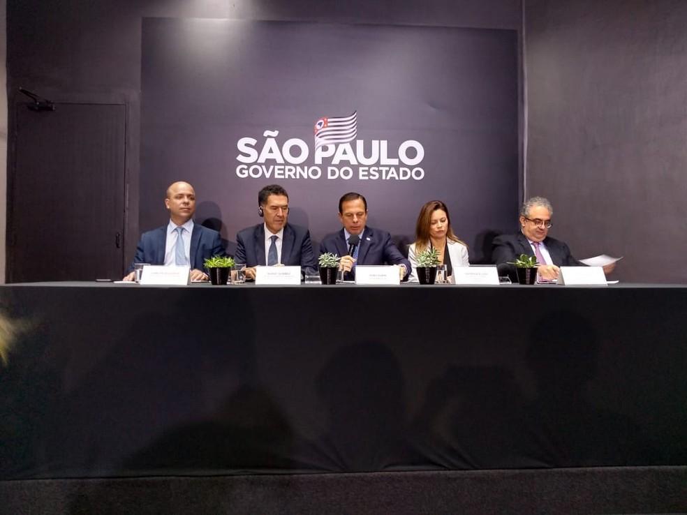 Governador João Doria durante coletiva de imprensa sobre a construção de centros de tecnologia e inovação em São Paulo.  — Foto: Laís Modelli/G1