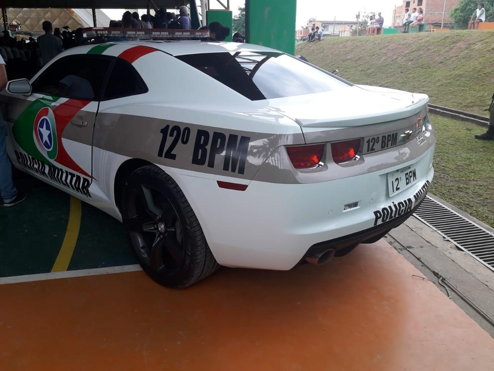 Camaro apreendido é usado como viatura da Polícia Militar — Foto: Polícia Militar/Divulgação