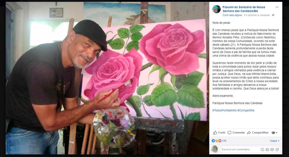Paróquia de Candeias lamentou morte do artista (Foto: Reprodução/Facebook)