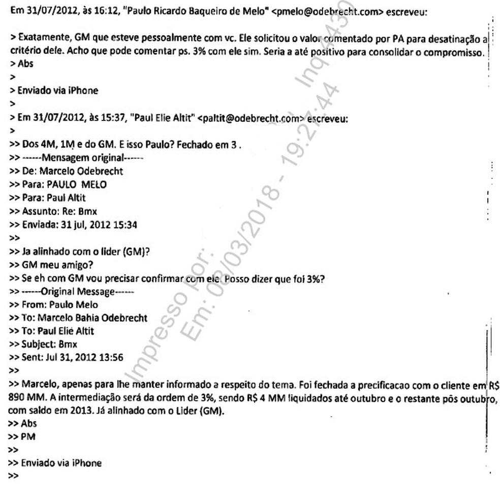 Trecho de e-mails entregue por Marcelo Odebrecht à PGR (Foto: Reprodução)