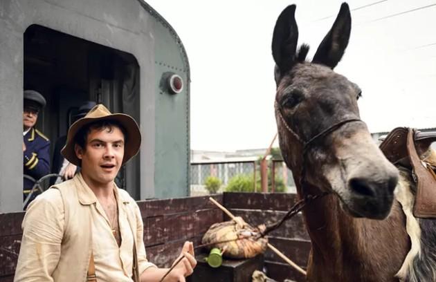 O burro Policarpo na verdade se chama Juca e foi treinado para seguir os comandos de Sergio Guizé em cena. No ano passado, o ator reencontrou o animal para gravar as chamadas do Vale a Pena Ver de Novo (Foto: Ramon Vasconcelos/TV Globo)