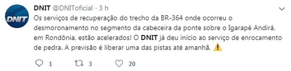 DNIT emite nota no Twitter sobre o caso e prevê que meia pista seja liberada na sexta-feira (8). — Foto: Reprodução
