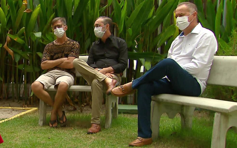 Bóris, Urbano e Carlos (da esquerda para a direita) são irmãos — Foto: Reprodução/TV Globo
