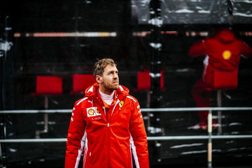 Sebastian Vettel durante a pré-temporada em Barcelona (Foto: Divulgação)