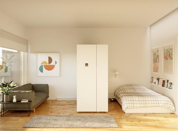O Pocket Closet vira divisória do quarto (Foto: Ori Living/ Reprodução)