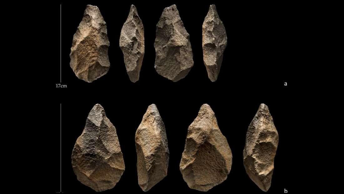 Ferramentas de pedra da cultura Acheuliana (Foto: PalaeoDesert/Ian R. Cartwright)