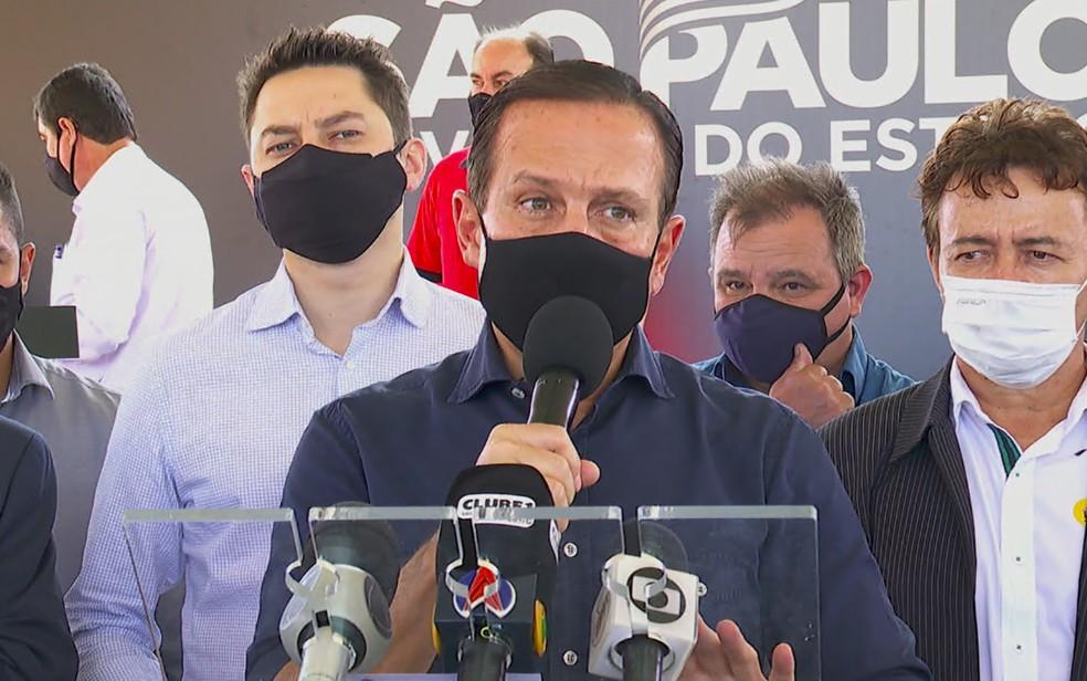 O governador de São Paulo, João Doria (PSDB), durante visita a Dumont, SP — Foto: Jefferson Severiano Neves/EPTV
