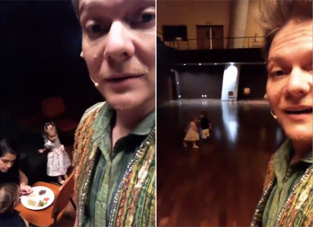 Michel Teló com os filhos, Melinda e Teodoro, e a mulher, Thais Fersoza, nos bastidores de musical (Foto: Reprodução/Instagram)