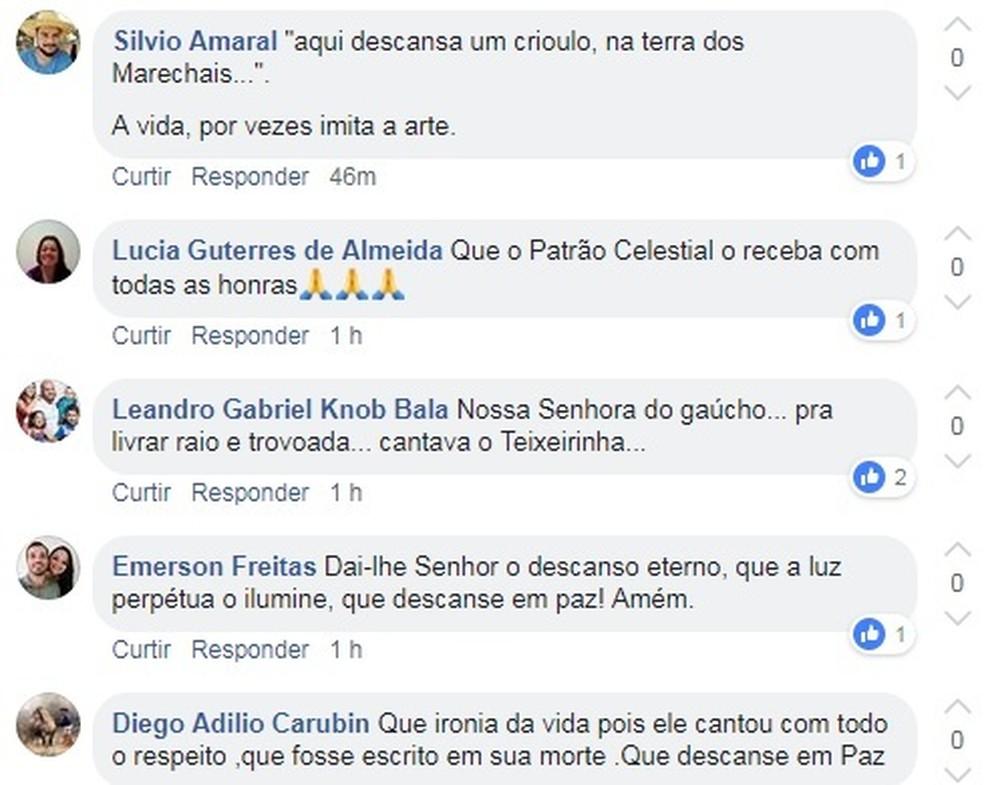 Admiradores lamentaram a morte de Gilmar Lima — Foto: Reprodução/Facebook