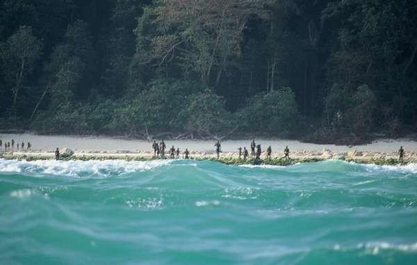 Registro feito à distância com membros da tribo isolada (Foto: Divulgação/Survival International)