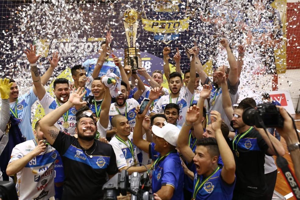 Pato Futsal ganhou a Liga Nacional em 2018 e 2019 — Foto: Maurício Moreira/Pato Futsal