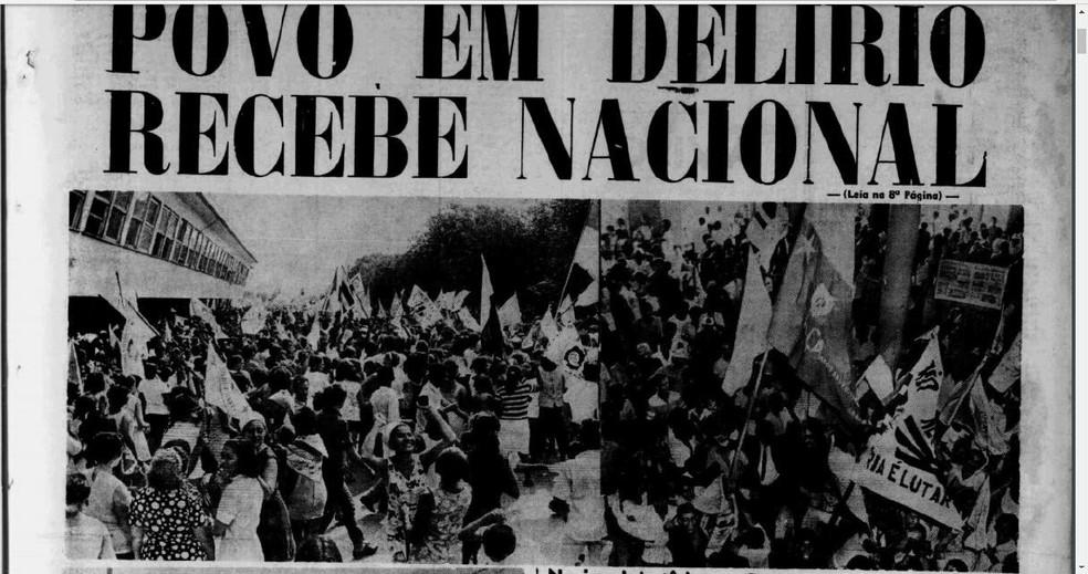 Página de jornal destaca chegada do Nacional após título fora do país (Foto: Reprodução)