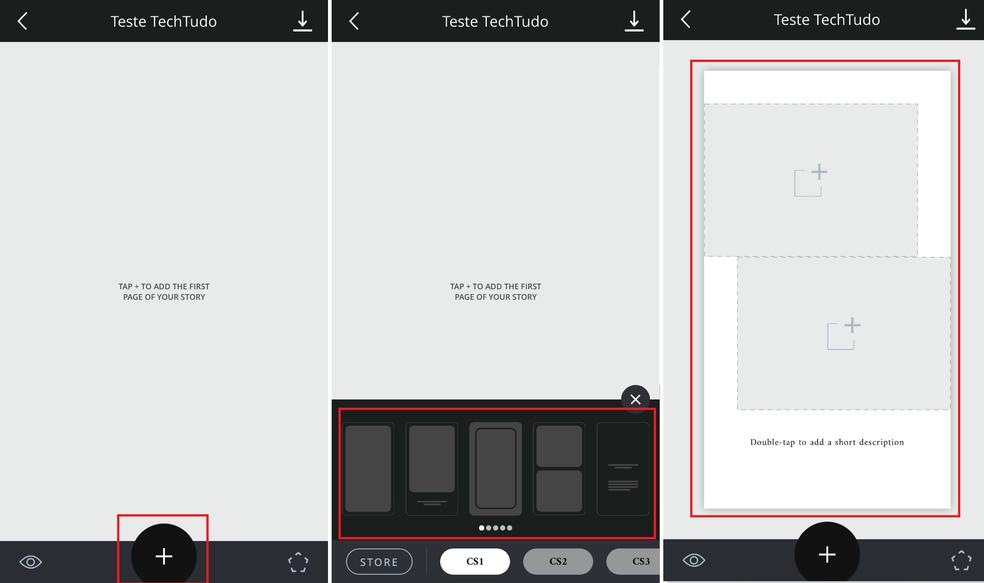 """Toque no ícone de """"+"""" e selecione seu template do Unfold (Foto: Reprodução/Luana Marfim)"""