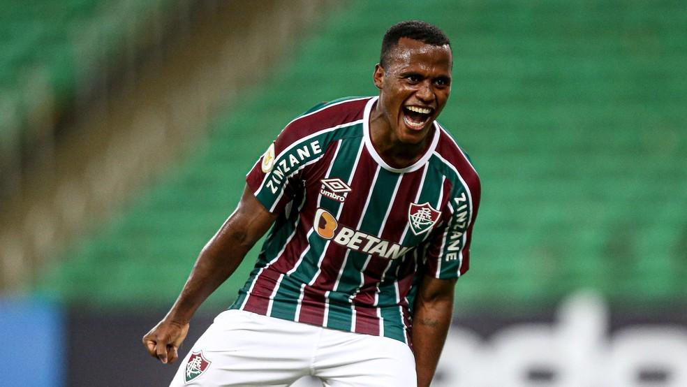 Jhon Arias comemora primeiro gol pelo Fluminense, sobre o Juventude — Foto: Lucas Merçon FFC