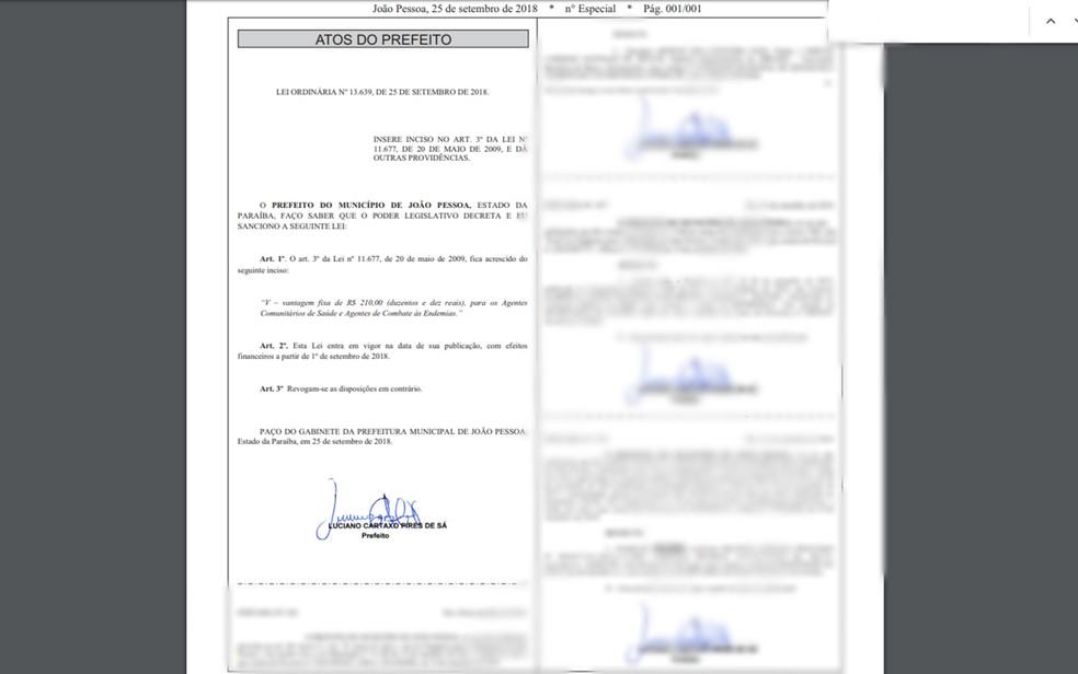 Lei foi sancionada e publicada no semnatário de João Pessoa nesta terça-feira (25). — Foto: Reprodução/Semanário Oficial