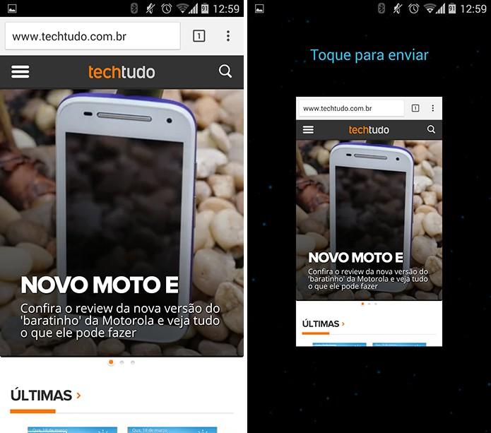 Android pode compartilhar páginas da web com Windows Phone via NFC (Foto: Reprodução/Elson de Souza)