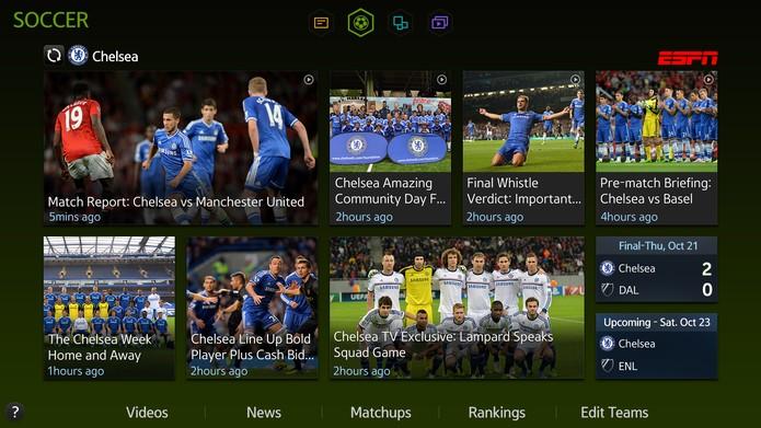 Painel Futebol trará imagens e vídeos dos jogos dos times e seleções (Foto: Divulgação/Samsung)
