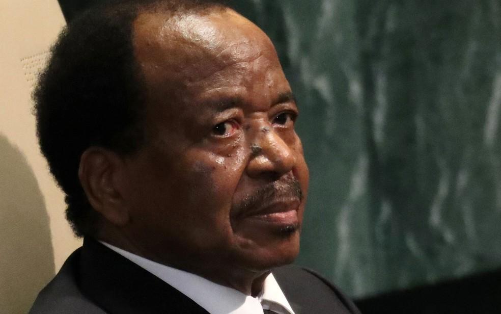 O presidente de Camarões, Paul Biya, aguarda sua vez de discursar na Assembleia Geral das Nações Unidas, em Nova York, em 22 de setembro de 2016 — Foto: Reuters/Carlo Allegri/File Photo