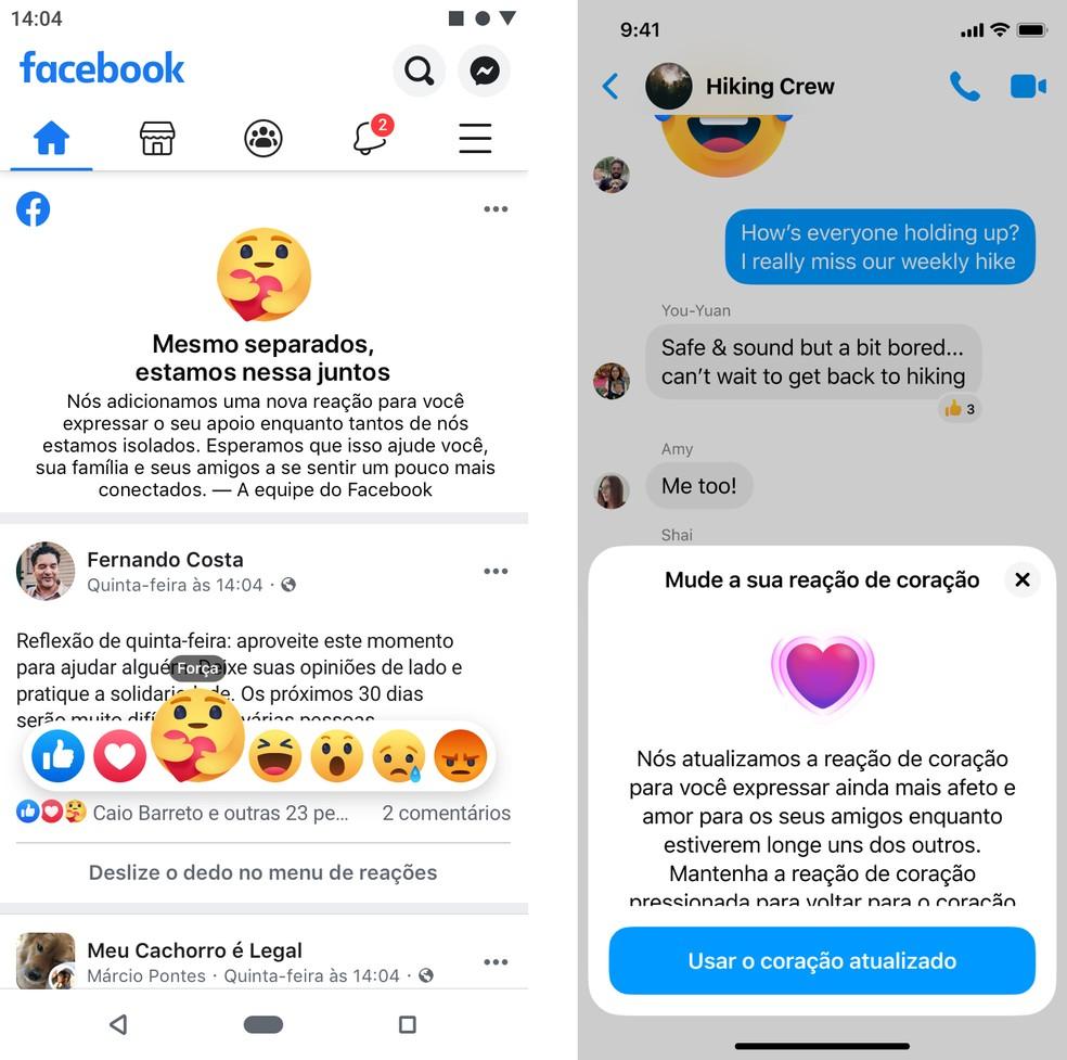 Novas reações estão disponíveis no Facebook e no Messenger — Foto: Divulgação/Facebook