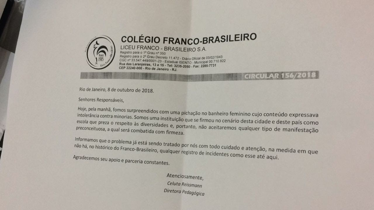 Circular enviada pelo Colégio Franco-Brasileiro