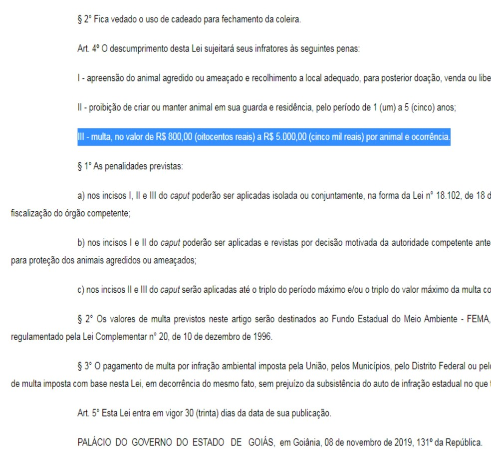 Multas variam de R$ 800 a R$ 5 mil, em Goiânia, Goiás — Foto: Reprodução/Governo de Goiás