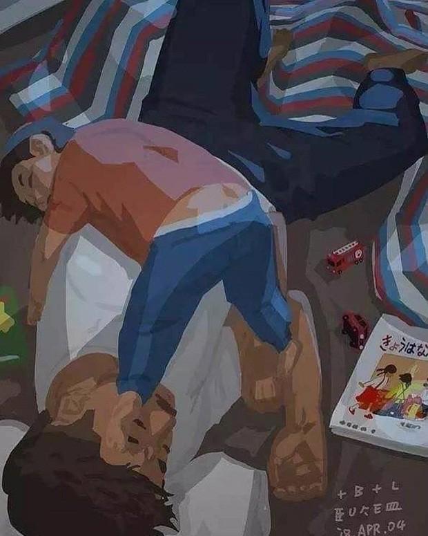 Pai e filho tiram uma soneca juntos no chão (Foto: Reprodução/Facebook)
