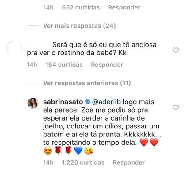 Sabrian Sato responde a fã no Instagram (Foto: Reprodução Instagram)