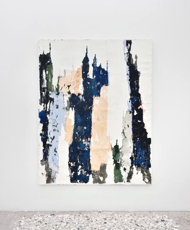 Ruína, série, 2018. Pintura e fragmentos de parede, 1,40 x 1,80 m (Foto: Divulgação)
