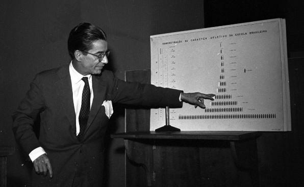 Anísio Teixeira durante palestra em 1957