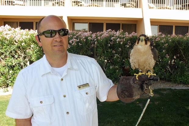 Funcionário do resort exibe falcão (Fot Dennis Barbosa/G1)