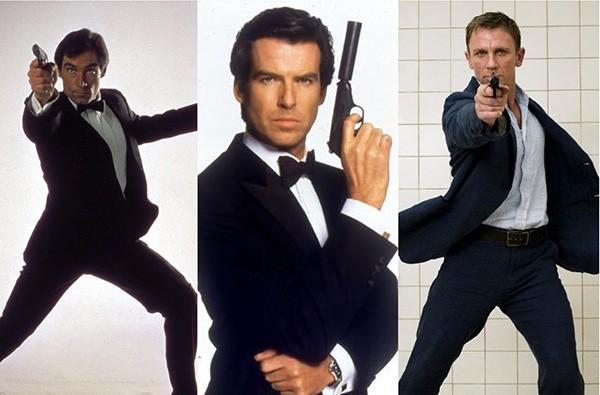 Timothy Dalton em 007 Marcado para a Morte (1987), Pierce Brosnan em 007 Contra GoldenEye (1995), Daniel Craig em 007 - Cassino Royale (2006).  (Foto: Divulgação)