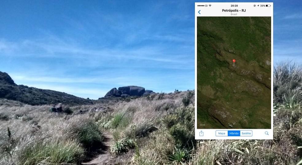 Homem perdido em trilha do Açu facilitou a busca dos bombeiros ao enviar localização pelo Whatsapp (Foto: Priscila Torquato/Inter TV  e Divulgação/Bombeiros (localização))