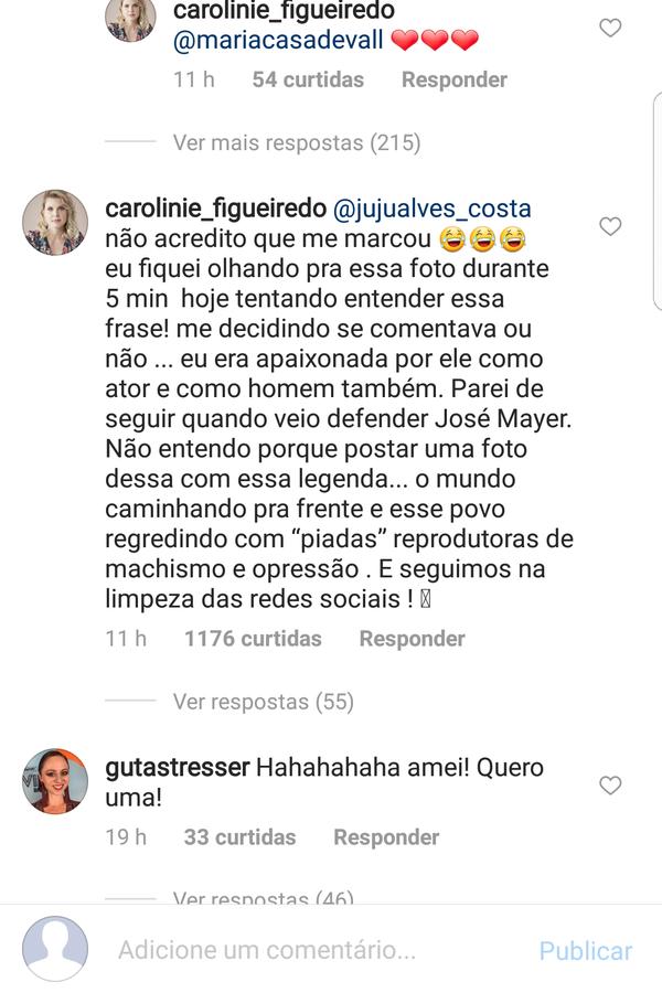 Comentário de Carolinie Figueiredo (Foto: Instagram/Reprodução)