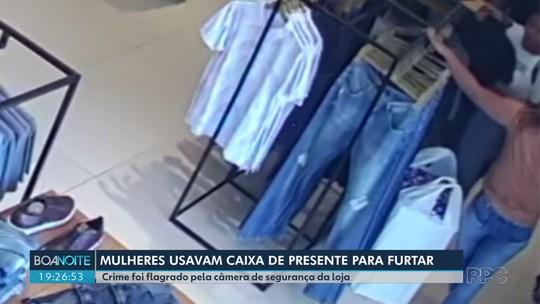 Suspeitas de furtar roupas usando caixa de presente vazia são presas em Campo Mourão; VÍDEO