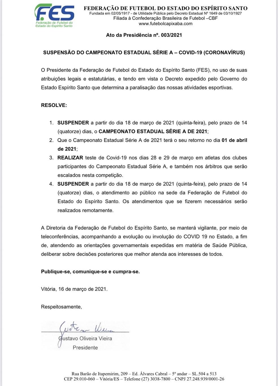 Nota oficial da FES sobre a paralisação do Capixaba 2021 — Foto: Divulgação/FES