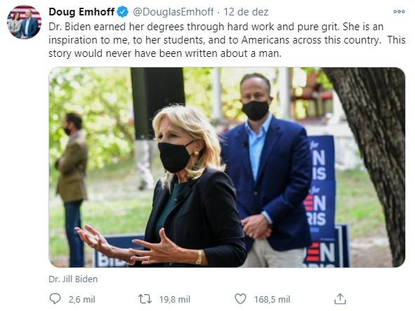 Doug Emhoff (Foto: Reprodução / Twitter @douglasemhoff)