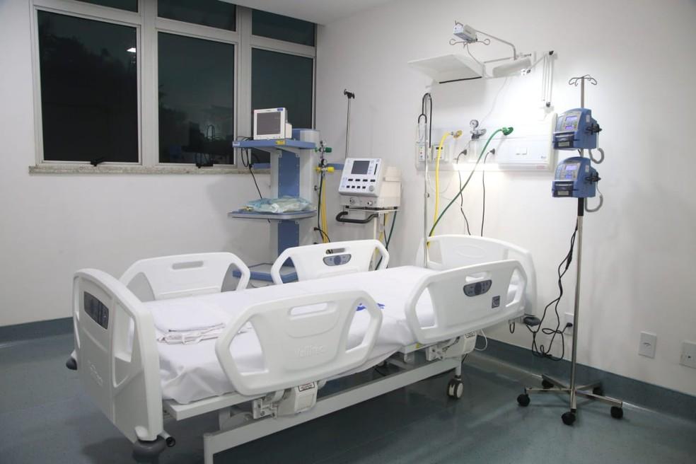 Hospital de Cuidados Intensivos (UCI) possui mais de 80 leitos de Unidade de Terapia Intensiva (UTI) e será referência no tratamento de casos do coronavírus. — Foto: Divulgação/Governo do Maranhão