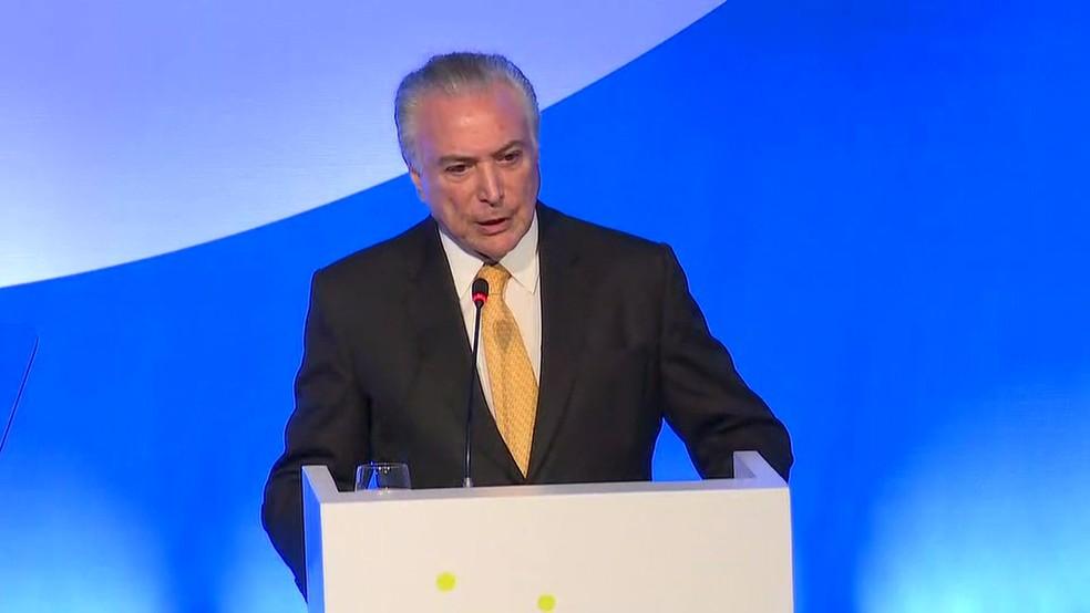 Temer esteve presente em evento da indústria química em SP (Foto: Globo News/reprodução)