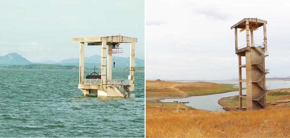 Em 2009, com a água no topo da torre de observação, dá pra ter uma ideia do quanto a barragem secou. Ao lado, imagem registrada agora, no início de 2018 (Foto: Carlos Santos Júnior/Cedida e Anderson Barbosa/G1)