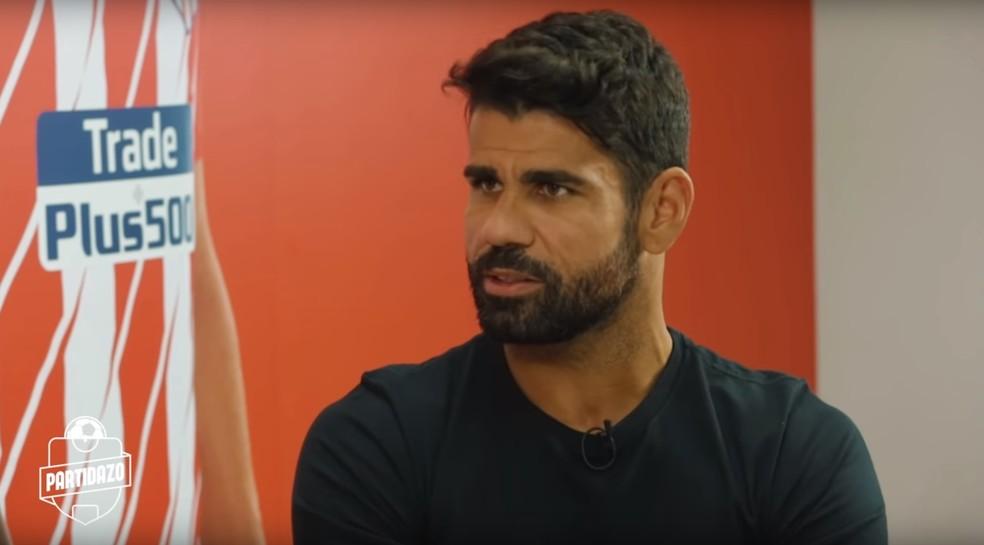 Diego Costa em entrevista ao canal Partidazo — Foto: Reprodução de vídeo