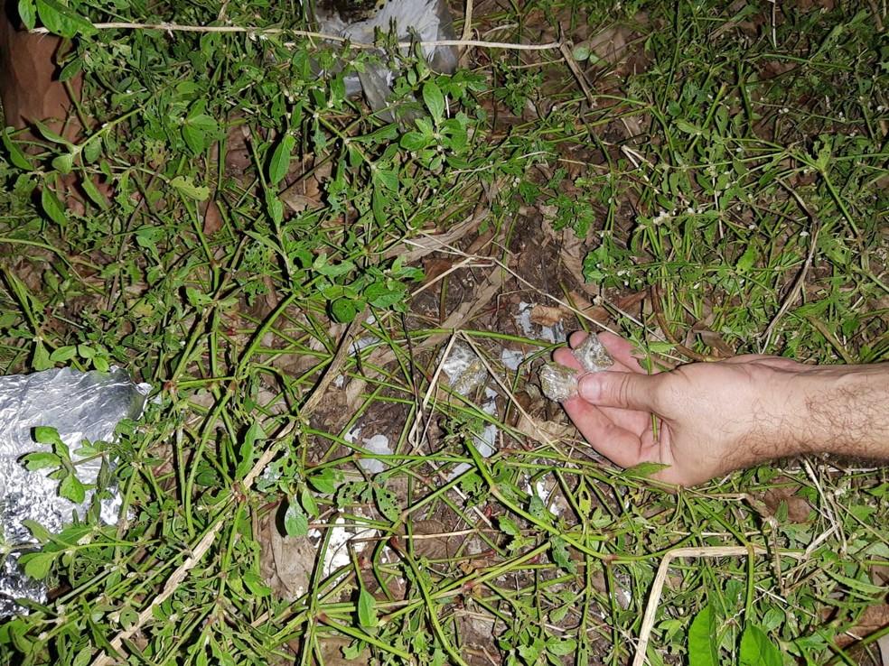 Porções de entorpecentes foram encontrados com um dos suspeitos  — Foto: Denarc / divulgação