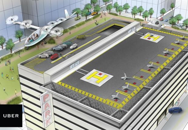 Táxi voador, no esboço feito pela Uber. A empresa pretende ter de 70 a 100 aeropontos em cada cidade grande (Foto: Divulgação/Uber)