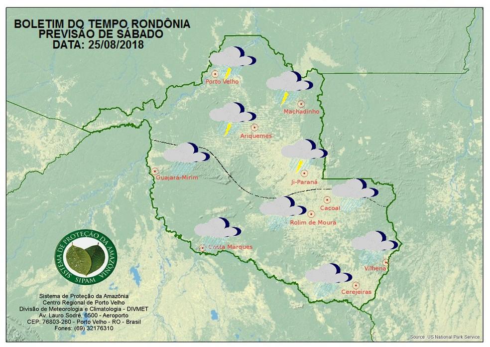 Sábado deve ser de fortes chuvas com trovoadas em cidades de Rondônia. (Foto: Reprodução/Sipam)